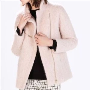Zara blush fuzzy lined coat